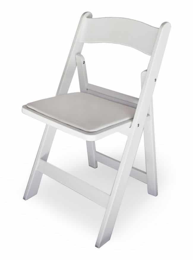 White Padded Folding Chair South Coast Wedding Hire