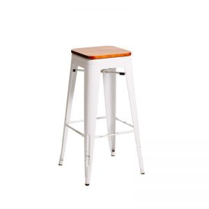 Tolix Stool Timber Top