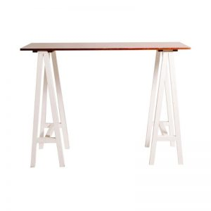 Carpenter Bar Table (white legs sand top)