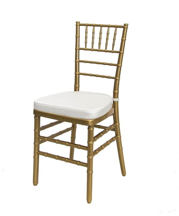 tiffany chair gold with cushion south coast wedding hire