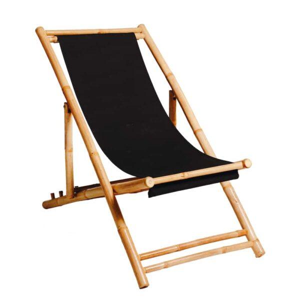 Beach-deck-Chair-bamboo-black-hire-south-coast