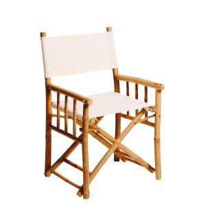 Bamboo Directors Chair White