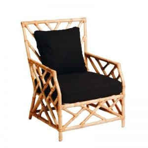 Hamptons Single Seater Bamboo Lounge Natural (Black Cushion)