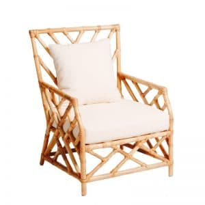 Hamptons Single Seater Bamboo Lounge Natural (White Cushion)