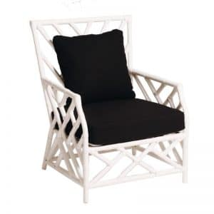 Hamptons Single Seater Bamboo Lounge White (Black Cushion)