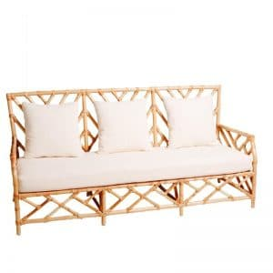 Hamptons 3 Seater Bamboo Lounge Natural (White Cushion)