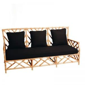 Hamptons 3 Seater Bamboo Lounge Natural (Black Cushion)