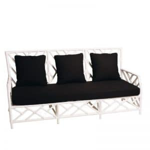 Hamptons 3 Seater Bamboo Lounge White (Black Cushion)