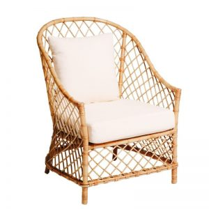 Rattan Single Seater Lounge Natural (White Cushion)