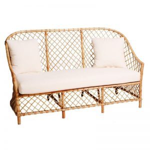 Rattan 3 Seater Lounge Natural (White Cushion)