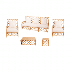 Hamptons Lounge Package Natural Bamboo (White Cushions)