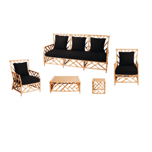 Hamptons Lounge Package Natural Bamboo (Black Cushions)