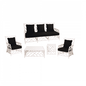 Hamptons Lounge Package White Bamboo (Black Cushions)