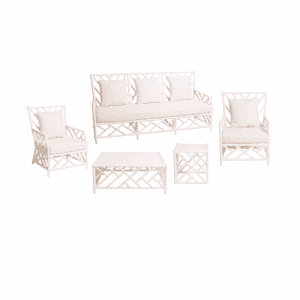Hamptons Lounge Package White Bamboo (White Cushions)