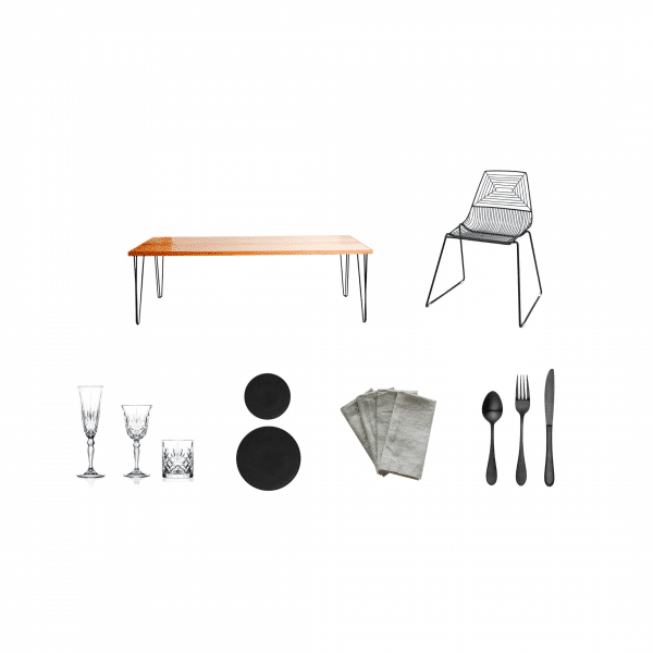 package-hunter-table-zed-black-chair-premium-glass-coupe-plate-grey-napkin-matte-black-cutlery