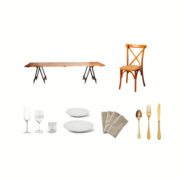 package-vintage-timber-table-timber-cross-back-chair-premium-glass-coupe-plate-blush-napkin-gold-cutlery