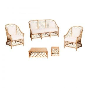 Rattan Lounge Package (White Cushions)