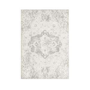 Grey & Ivory Floral Distressed Rug